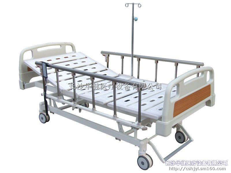 HJ-0008三功能电动床  ABS床头、铝合金护叠护栏、安全电压电机、豪华万向轮;  床头、床尾采用ABS高级工程塑料吹塑而成,外形美观,装卸自如,可靠耐用;  床体采用型钢焊接而成,牢固可靠,表面除锈,静电喷涂,抗老化,不生锈;  床板之间采用软骨连接,呈弧形过渡,符合人体工程医学原理;  PE护栏与床板连动,可上下移动,操作时自动锁扣,外形美观,牢固耐用;  可上下定位电动系统采用进口安全电压电机,配置不断电装置;  四轮采用中控制动装置,稳定可靠,美观大方;  本产品具靠背、曲腿、升降三项功能。