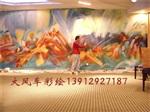 南京酒店油画壁画BH2 抽象画手绘墙1