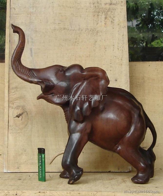 木雕大象工艺品