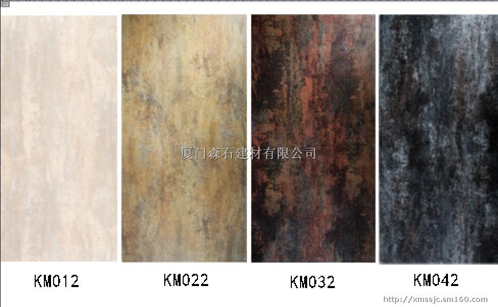 产品介绍一、纤瓷板(超薄岩板)介绍纤瓷板规格100020004(地面厚6),每平方米的重量7.5公斤,对建筑物负载轻,面积大,装饰效果好。表面釉面是进口马来西亚釉,通过离子釉渗透技术处理。表面无毛细孔,不藏污垢,易清洁,不褪色,适应如医院手术室和公共场所墙面。用于室内外墙装饰时,配用专用粘合剂,总共只增加墙面一公分厚度,占用空间少。在安装时,通过粘合剂与墙体完全结合,抗冲击能力强。 施工简单,结构牢固,能够有效地提高工作效率。(一个师傅可安装10个平方)后期维护成本低。因为表面是釉面,抗紫外线,抗风