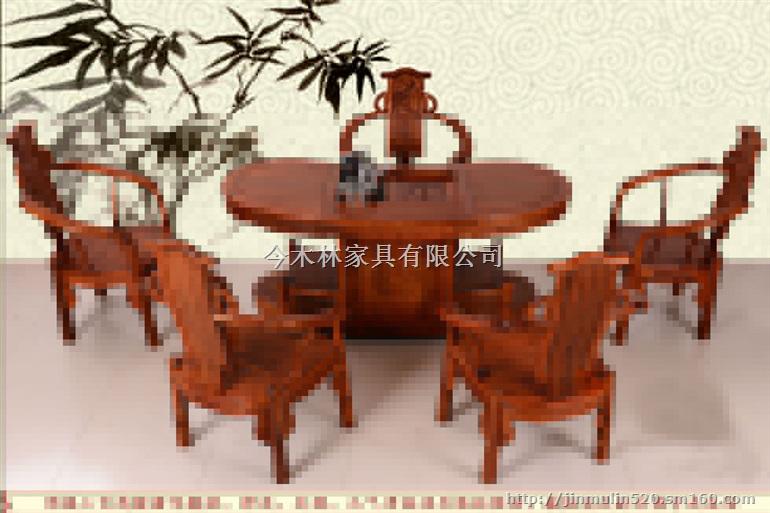 花梨木腰形茶桌茶家具采用传统的榫卯结构