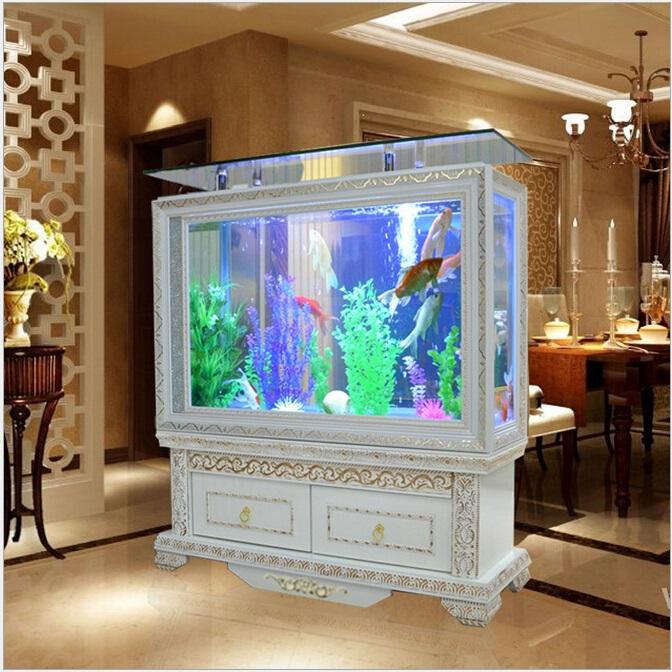 批发订做新款生态鱼缸 欧式水族箱屏风玄关鱼缸