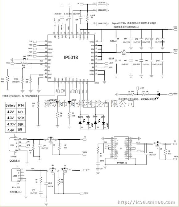INJOINIC升邦移动电源单芯片解决方案丨开关充同步放高效率移动电源解决方案 IP5318/IP5209/IP5108/IP5305/IP5108E/IP5207/IP5209S/ 同步升压移动电源解决方案  英集芯IP5318单芯片移动电源案例 英集芯IP5318采用快充All in One全集成 SOC技术,该技术的应用不仅实现高性能的充放电体验,而且还具备极具竞争力的市场价格。英集芯总经理黄洪伟引以为豪说:单电感充电升压的架构,此架构目前只有TI、MPS等国外大厂才能做。我们产品架构媲美国际大厂,