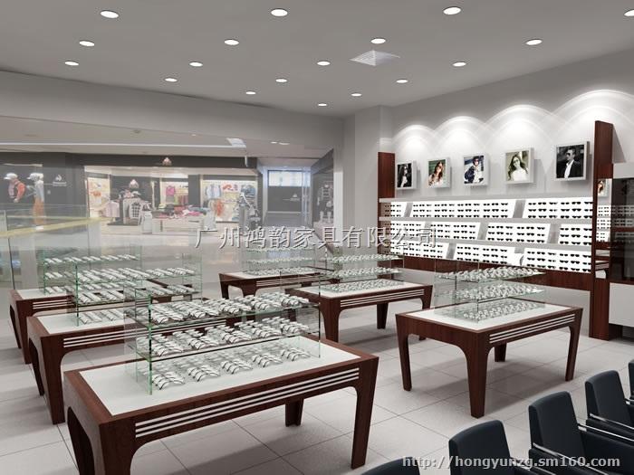 眼镜店铺展示陈列柜定做|眼镜店柜台陈列柜设计工厂广州鸿韵厂制件
