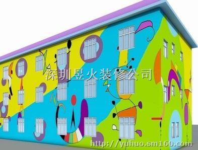 手绘图,幼儿园外墙涂鸦
