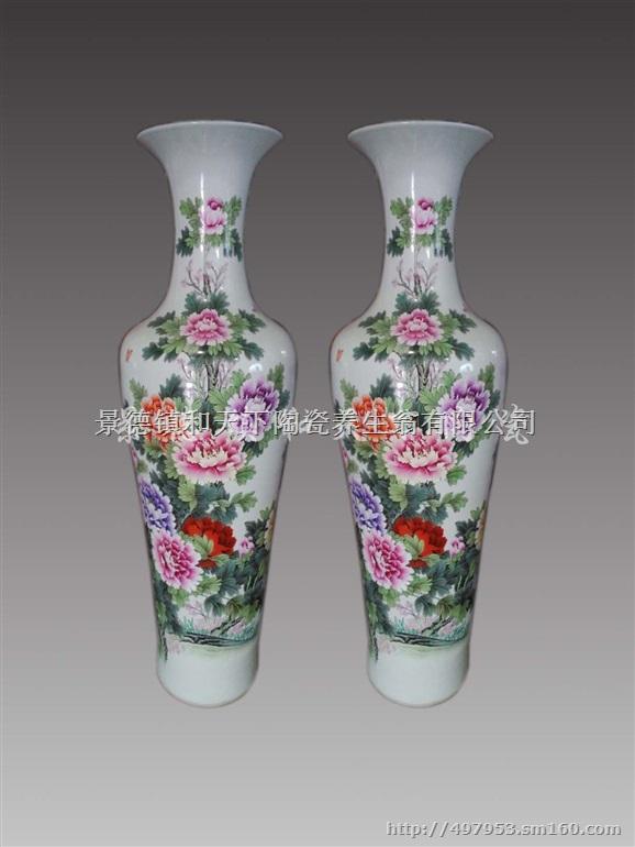供应欧式陶瓷落地大花瓶现代软装客厅富贵装饰