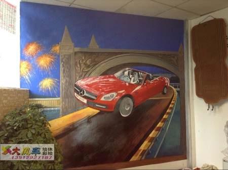 南京汽车美容店3d立体画 红色奔驰