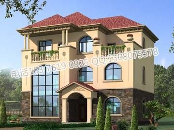 复式带阳台三层乡村小别墅房屋住宅设计图