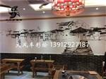南京餐厅火锅店手绘墙绘 江边渔村古镇