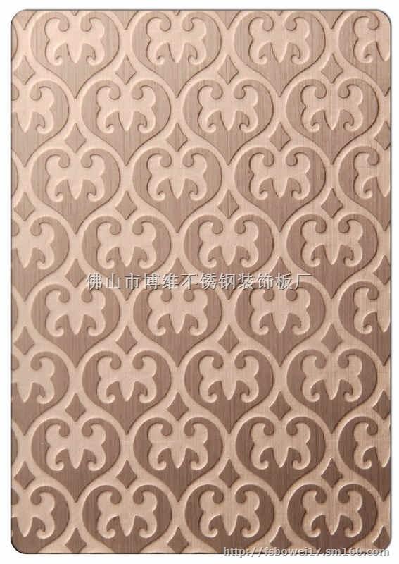 蚌埠不锈钢电梯花纹门板 蚀刻工艺板是在物件表面通过化学的方法,腐蚀出各种花纹图案。以8K镜面板为底板,进行蚀刻处理后,对物体表面再进行深加工,可进行局部的和纹,拉丝,嵌金,局部钛金等各式复杂工艺处理,实现图案明暗相间,色彩绚丽的效果。蚀刻不锈钢包括彩色不锈钢蚀刻,图案多种,可供广大选用的颜色有:钛黑(黑钛)、天蓝、钛金、宝石蓝、咖啡色、茶色、紫色、古铜、青古铜,香槟金,玫瑰金、紫红、钛白、翠绿、绿色等,适用于:星级酒店,KTV,大型商场,高级娱乐场所等。