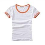 桔色撞邊圓領印花T恤(男女童裝)
