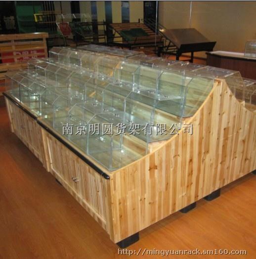 供应南京木制散装柜|果蔬架|零食货架|明圆货架