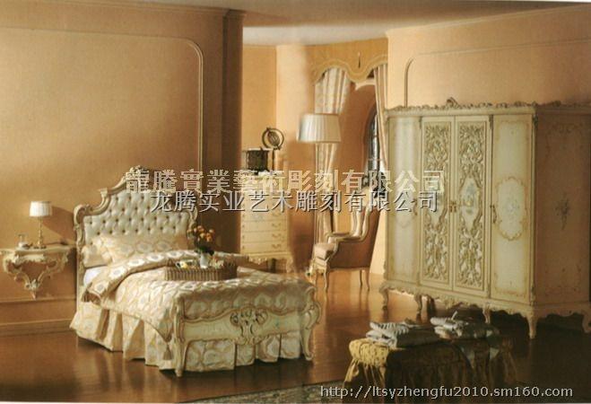 巴洛克家具 双人床 卧室家具 龙腾新贵族
