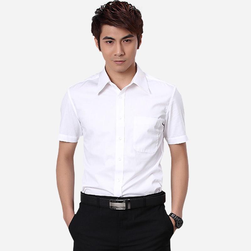 新款 短袖襯衫 男士商務正裝短袖襯衣 職業修身白色圖片