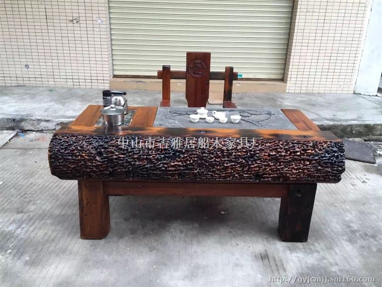 玄关老船木茶桌