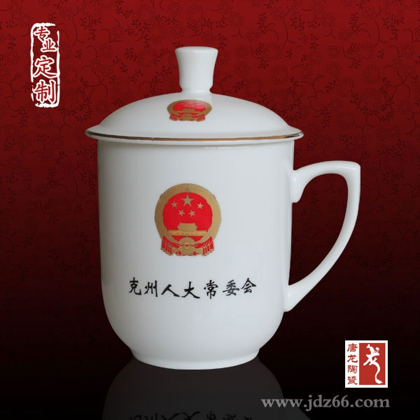 全手工手绘会议杯 陶瓷水杯厂家 办公礼品茶杯定做