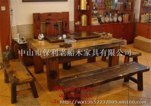 老船木酒店家具原生态龙骨茶桌茶几茶台大板会客桌子