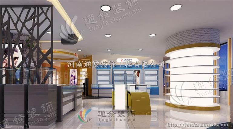 眼镜店展柜烤漆定制装修公司效果图设计厂家河南通发装