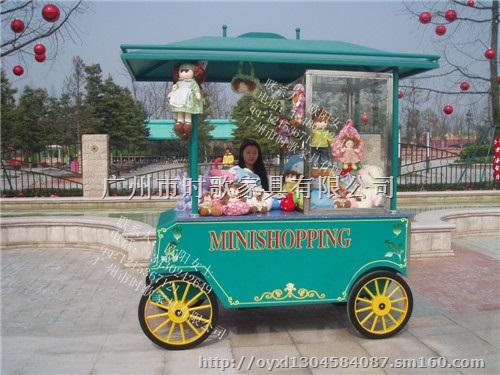陵江木制售卖车 景区园林小吃售货亭 冰淇淋售货车