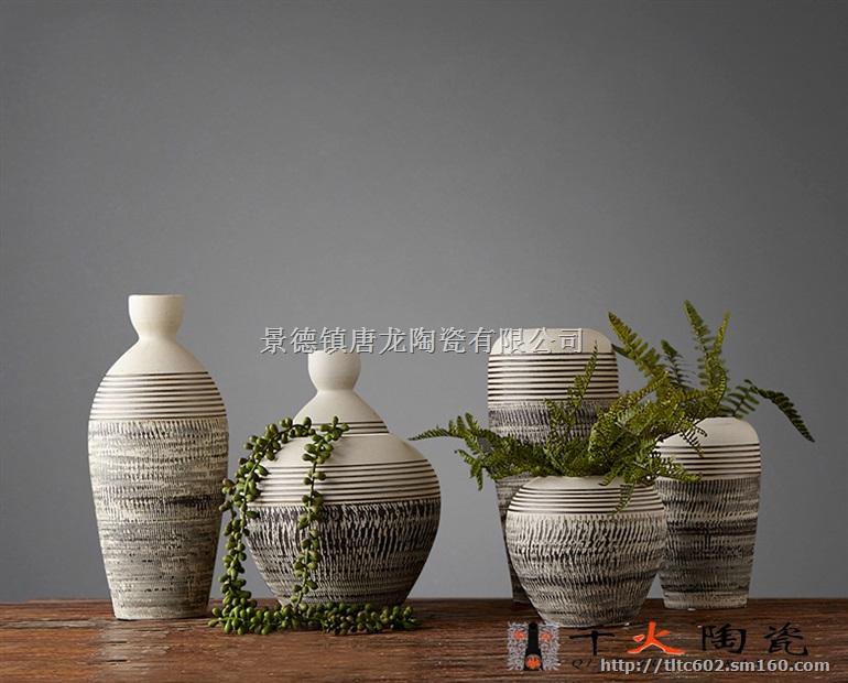 家居软装饰品厂家 新中式现代摆件 手工插花陶瓷定制
