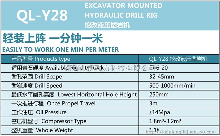 凯强力ql-y28挖改液压凿岩机图片