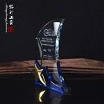 五角星水晶奖杯订制 马拉松比赛奖杯 弯月水晶奖杯