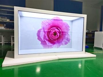 東莞惠華廠家直銷75寸透明液晶展示柜