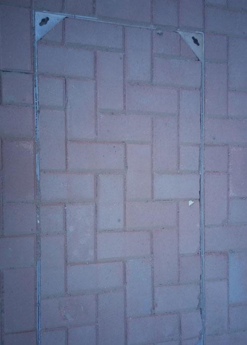 【长方形不锈钢井盖铺装效果
