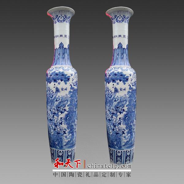 厂家直销 客厅装饰品摆件 欧式彩绘陶瓷落地大花瓶