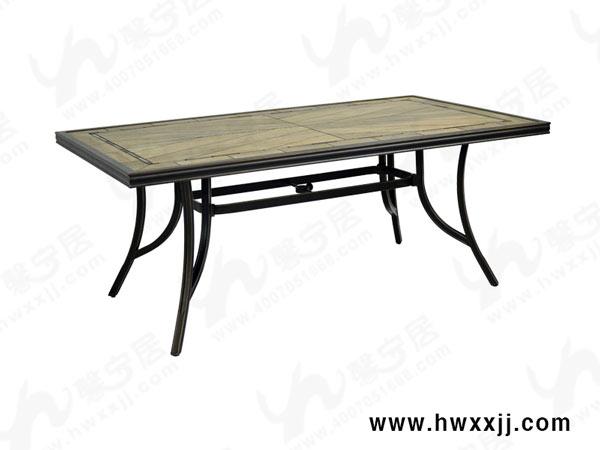 瓷砖长方桌欧式铸铝家具别墅花园桌椅户外家具