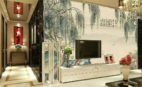 竹木扣板电视墙效果图