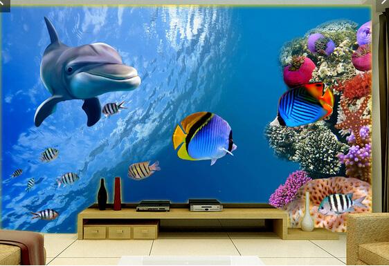 3d海底世界浴室地板背景墙地贴