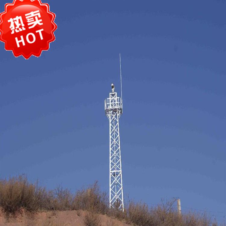 监控塔由塔体、平台、塔楼、爬梯等组成,结构紧凑,经久耐用,瞭望塔适用于森林防火,边防检查哨的嘹望,监控等,了望监控塔是理想的森林防火,火情查看,登高眺望指挥工作台.监控了望塔塔身采用优质钢材制作,采用热镀锌防腐,具有结构稳定、科学合理、工艺精良、造型美观、安全耐用、防腐时间长,搬迁便捷等优点.